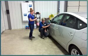 Finishing a collision repair in the shop