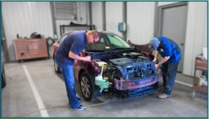 Car Front End being repaired