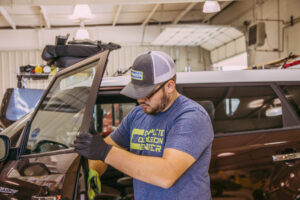 SUV Door being worked on at Complete Collision Center