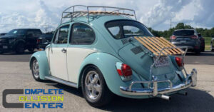 restored VW bug from complete collision center